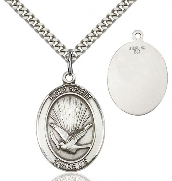 Oval Holy Spirit Guide Us Pendant - Sterling Silver