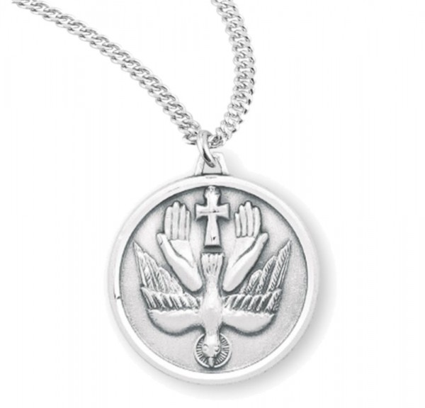 Holy Trinity Round Dove Necklace for Men or Women - Sterling Silver