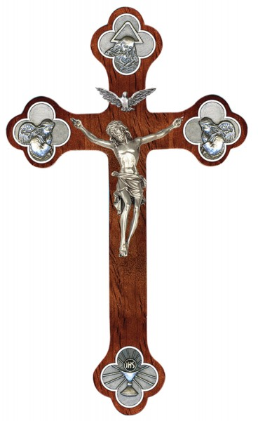 Holy Trinity Wall Crucifix in Walnut with Antique Pewter Finish Corpus 12 - Brown