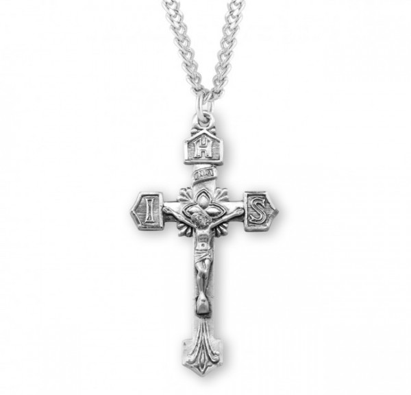 IHS Tip Men's Crucifix Necklace - Sterling Silver