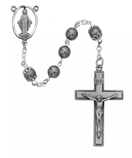 Imitation Hematite 7mm Rosary with Pewter - Black