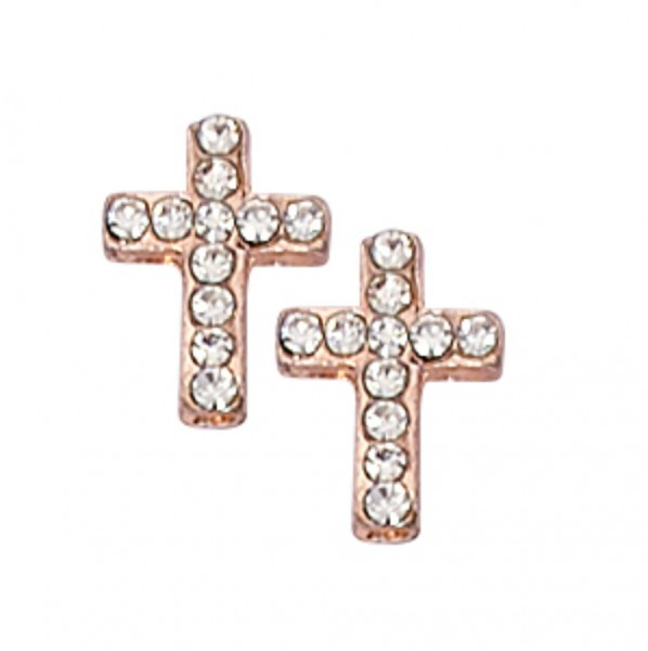 Imitation Rose Gold Color Crystal Cross Earring - Rose