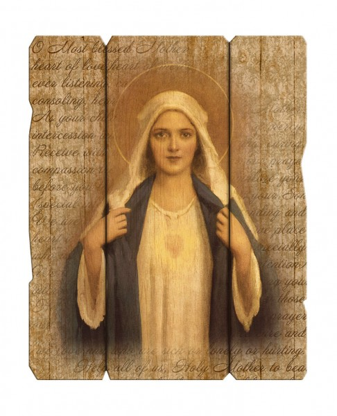 Immaculate Heart of Mary Wall Plaque in Distressed Wood - Full Color