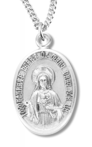 Immaculate Heart Of Mary Medal Sterling Silver - Silver