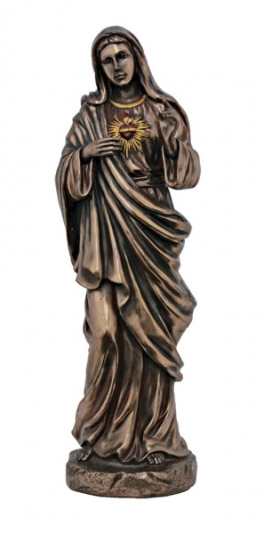 Immaculate Heart of Mary Statue,  11 Inches - Bronze