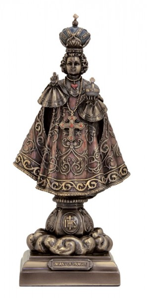 Infant of Prague Statue, Bronzed Resin - 9 inches - Bronze