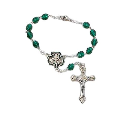 Irish Auto Rosary with Claddagh and Clover Centerpiece - Green