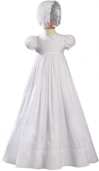 Irish Baptism Gown with Floral Shamrock Embroidery - White