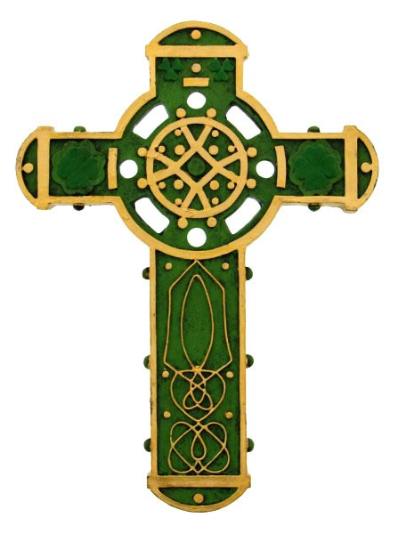 Irish celtic wall cross hand painted resin quot h