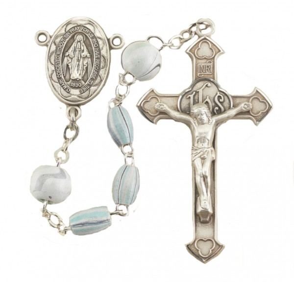 Italian Wood Bead Rosary in Sterling Silver - Aqua