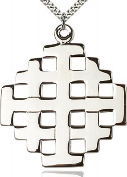 Jerusalem Cross Pendant - Sterling Silver