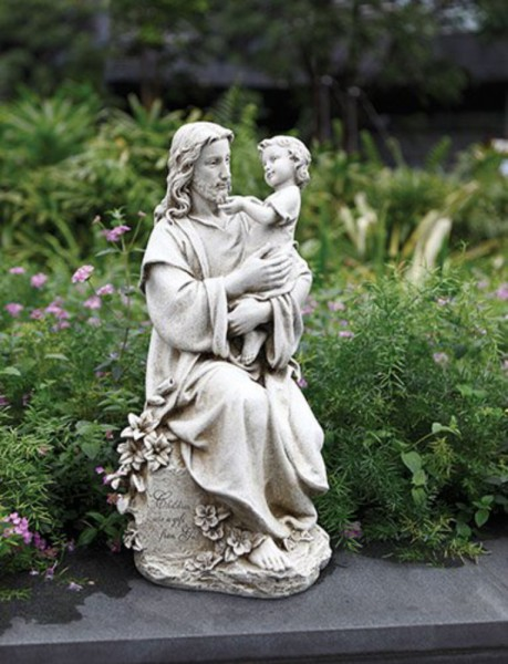 "Jesus Holding a Child Garden Statue 20"" High - Stone Finish"