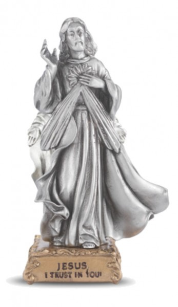 Jesus I Trust In You Pewter Statue 4 Inch - Pewter
