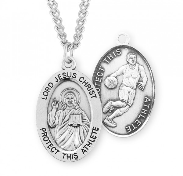 Jesus Protect this Basketball Athlete Medal Boys - Sterling Silver