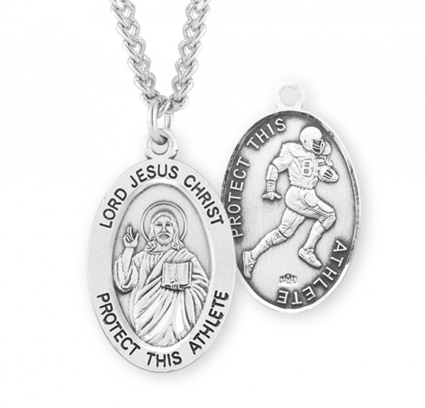 Jesus Protect this Football Athlete Medal Boys - Sterling Silver