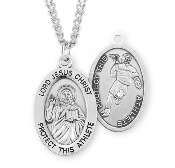 Jesus Protect this Lacrosse Athlete Medal Boys - Sterling Silver