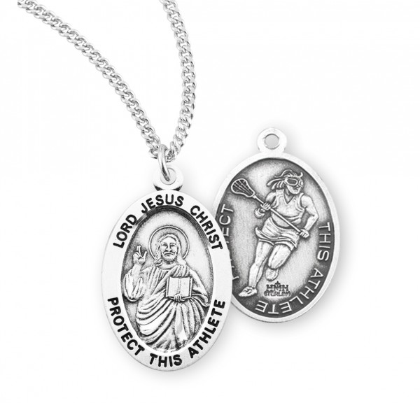 Jesus Protect this Lacrosse Athlete Medal Girl - Sterling Silver