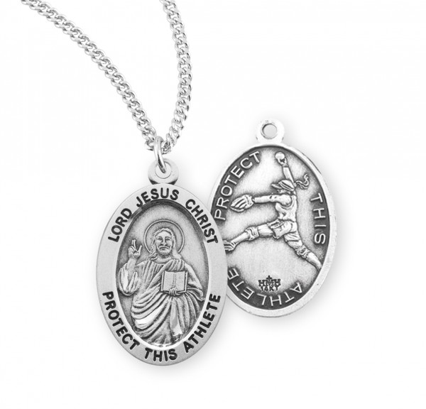 Jesus Protect this Softball Athlete Medal - Sterling Silver