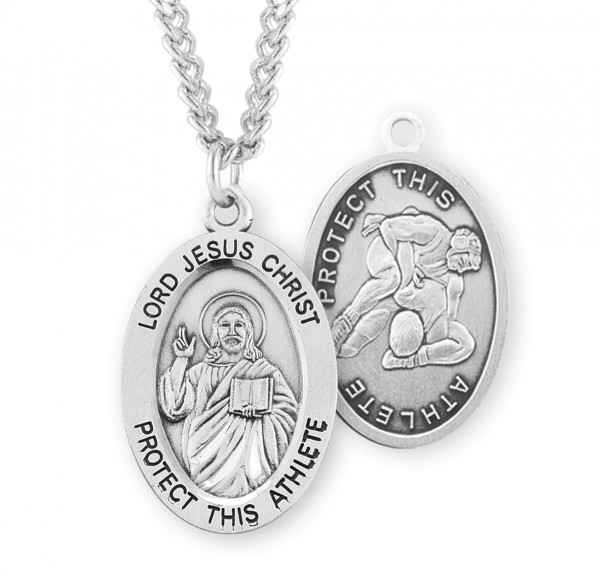 Jesus Protect this Wrestling Athlete Medal Boys - Sterling Silver