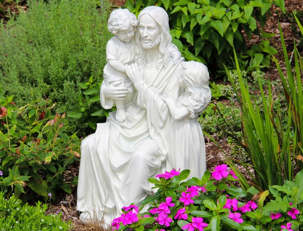 Jesus and the Children Garden Statue - Stone