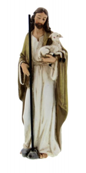 "Jesus the Good Shepherd Statue 4"" - Multi-Color Browns"