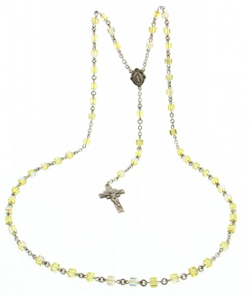 Jonquil Swarovski Crystal Sterling Silver Rosary - Yellow