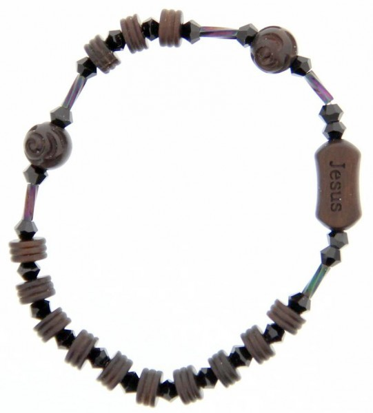 Jujube Wood Brown and Black Rosary Bracelet - 6mm - Brown | Black