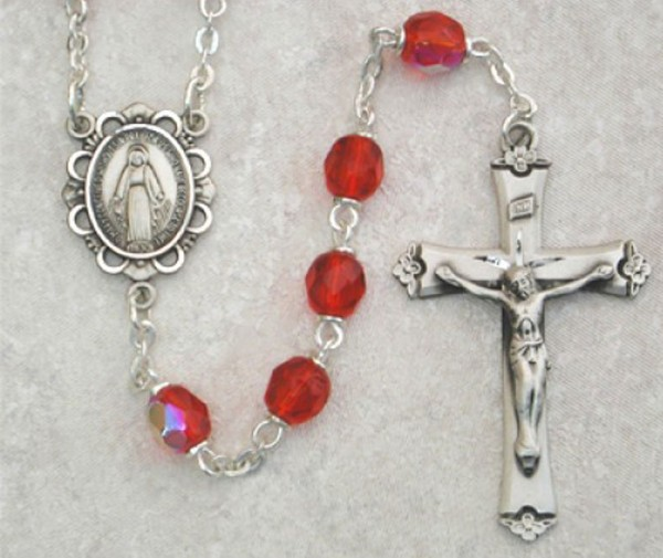 July Birthstone Rosary (Ruby) - Sterling Silver - Ruby Red