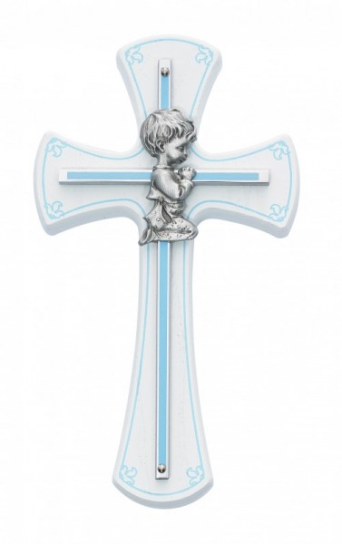 Kneeling Boy on Baby Cross - White | Silver