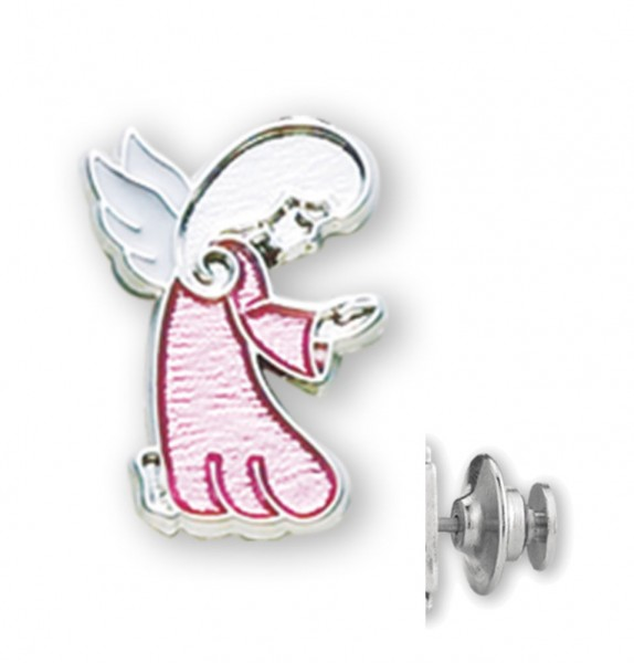 Kneeling Guardian Angel Lapel Pin at Prayer with Pink Enamel - Sterling Silver