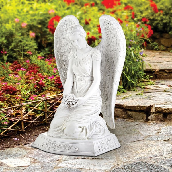 "Kneeling Memorial Angel with Flowers Garden Statue 20"" High - White"
