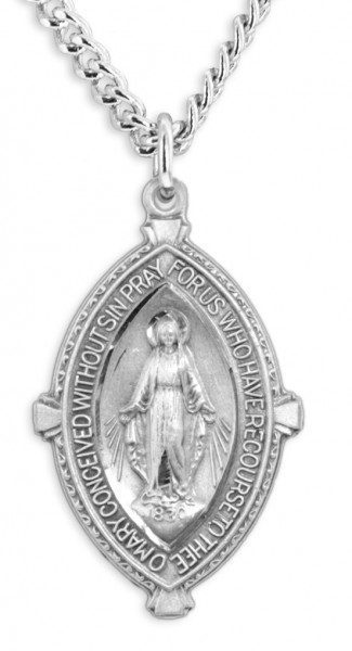 Large Almond Shape Miraculous Medal Text Border - Sterling Silver