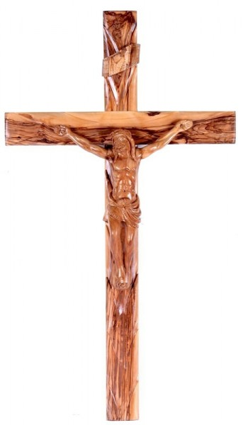 "Large Crucifix Olive Wood 30"" - Brown"
