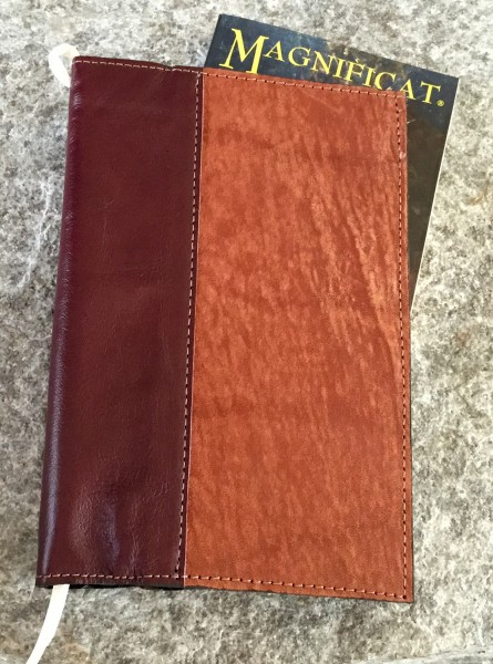 Large Deluxe Magnificat Magazine Leather Cover - White Ribbon | Reddish Cover