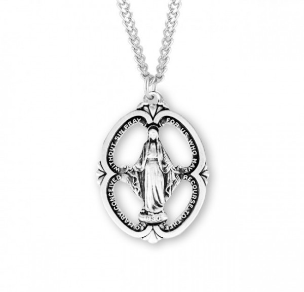 Large Open-Cut Oval Miraculous Medal - Sterling Silver