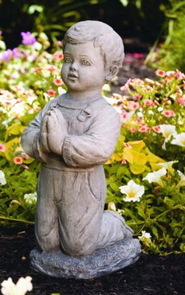 Large Praying Boy Garden Statue 21 Inches - Old Stone Finish