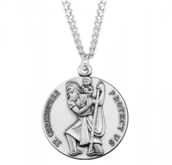Large Round Saint Christopher Necklace - Sterling Silver