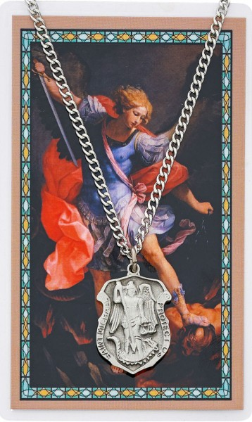 Large St. Michael Prayer Shield Prayer Card - Silver tone