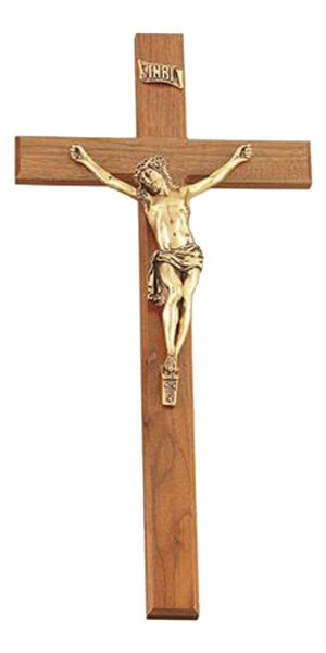 "Large Walnut Wall Cross with 11 Inch Resin Corpus in Antique Gold Finish 27"" - Brown"