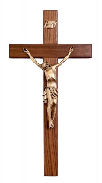 "Large Walnut Wall Crucifix with Antique Gold Tone Finish Corpus 20"" - Brown"
