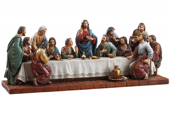 Last Supper 15 Inch Wide Statue - Full Color