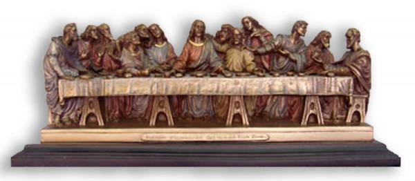 Last Supper Statue in Bronzed Resin on Base - 14.25 inches - Bronze