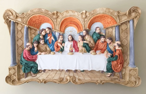 Last Supper Wall Plaque Hand Painted - 29 inch - Full Color