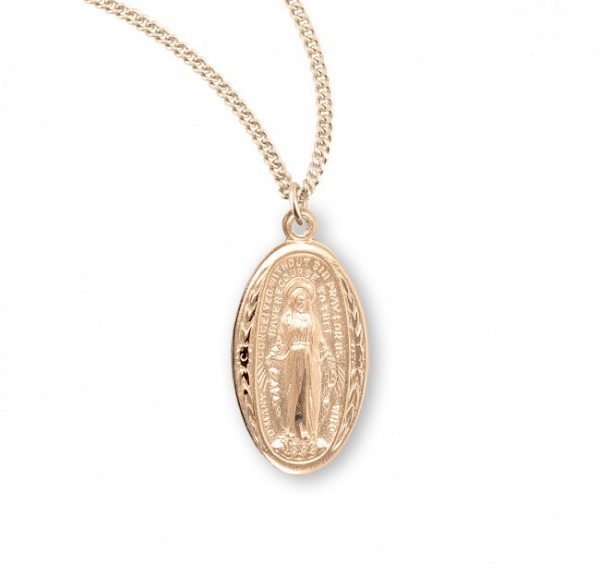 Leaves and Floral Border Oval Miraculous Medal - Gold Plated