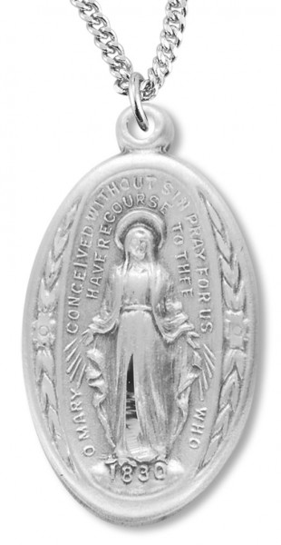 Leaves and Floral Border Oval Miraculous Medal - Sterling Silver