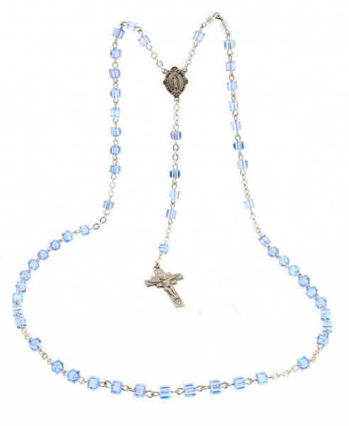 Light Blue Swarovski Rosary in Sterling Silver - Light Blue