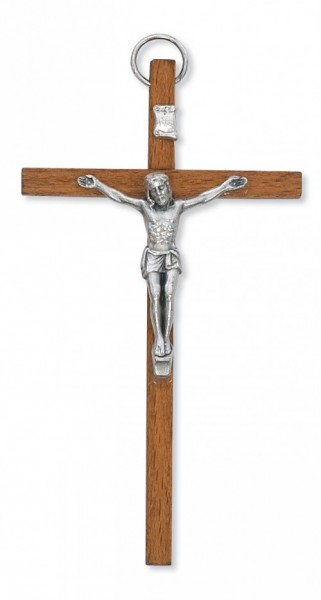 "Light Brown Wood Crucifix with Metal Corpus - 4""H - Light Brown"