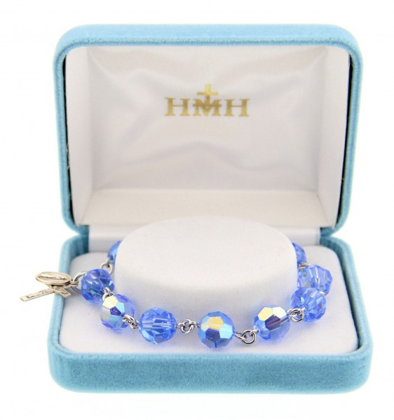 028dd320e Light Sapphire Swarovski Crystal Rosary Bracelet - Light Sapphire
