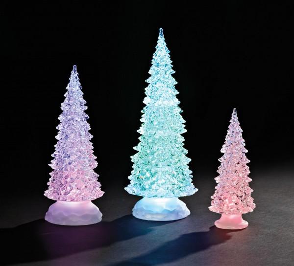 """Christmas Tree Trio: Lighted Christmas Tree Trio Set In Acrylic 12.5"""""""
