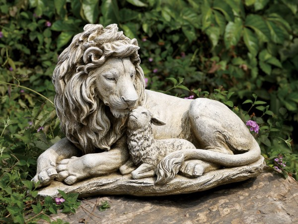 Lion and Lamb Garden Statue - 12.25 - Stone Finish